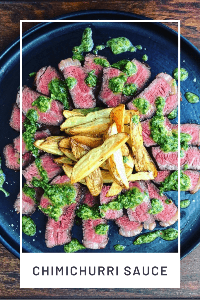 steak on a plate with chimichurri sauce