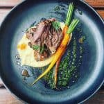 Braised beef cheeks, polenta & carrots