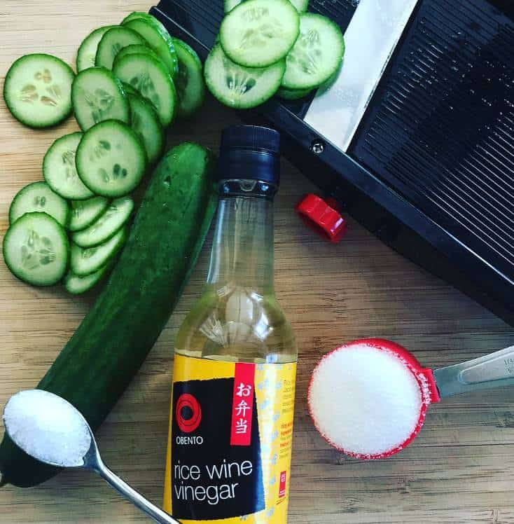 Sliced cucumber, rice vinegar & mandoline