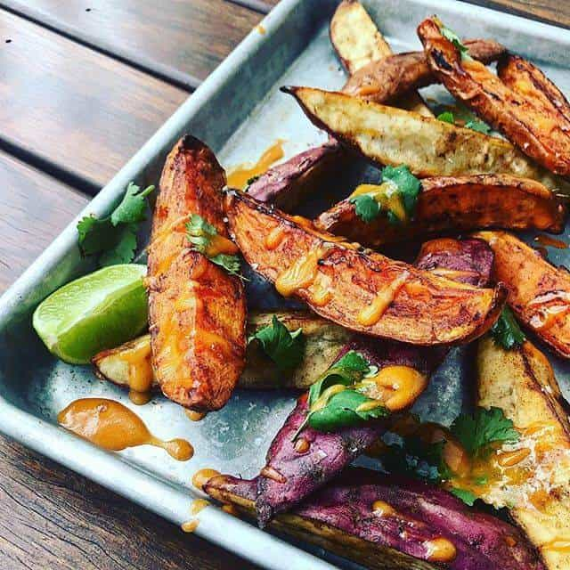 Sweet Potato Wedges, aioli & lime on baking tray