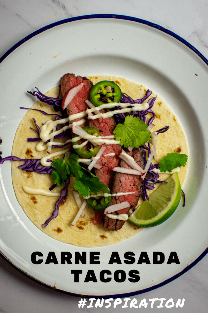 steak taco carne asada style on a plate