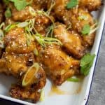 Pineapple chicken wings on a tray