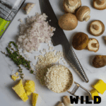 ingredients for wild mushroom risotto on kitchen counter top