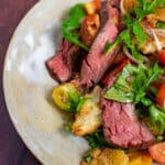 Panzanella steak salad in a bowl