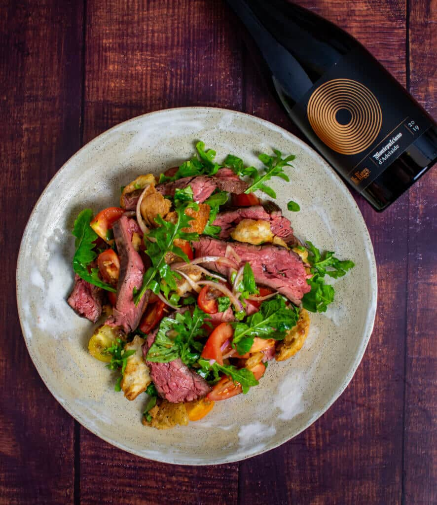 Panzanella steak salad & Mr Riggs Montepluciano wine