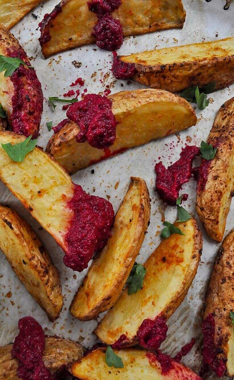 Beetroot Hummus & Wedges