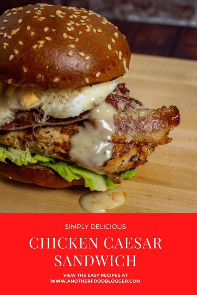 chicken caesar sandwich on wooden chopping board