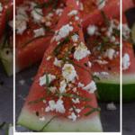 watermelon topped with togaroshi, mint & feta.