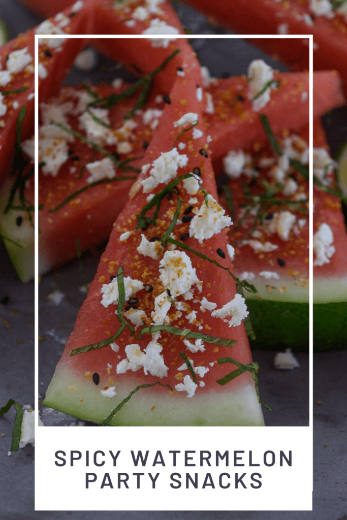 watermelon topped with togaroshi, mint & feta.