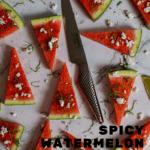 watermelon topped with togaroshi, mint & feta. Global GS-60 knife