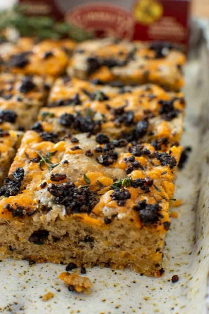 black pudding focaccia on a serving plate