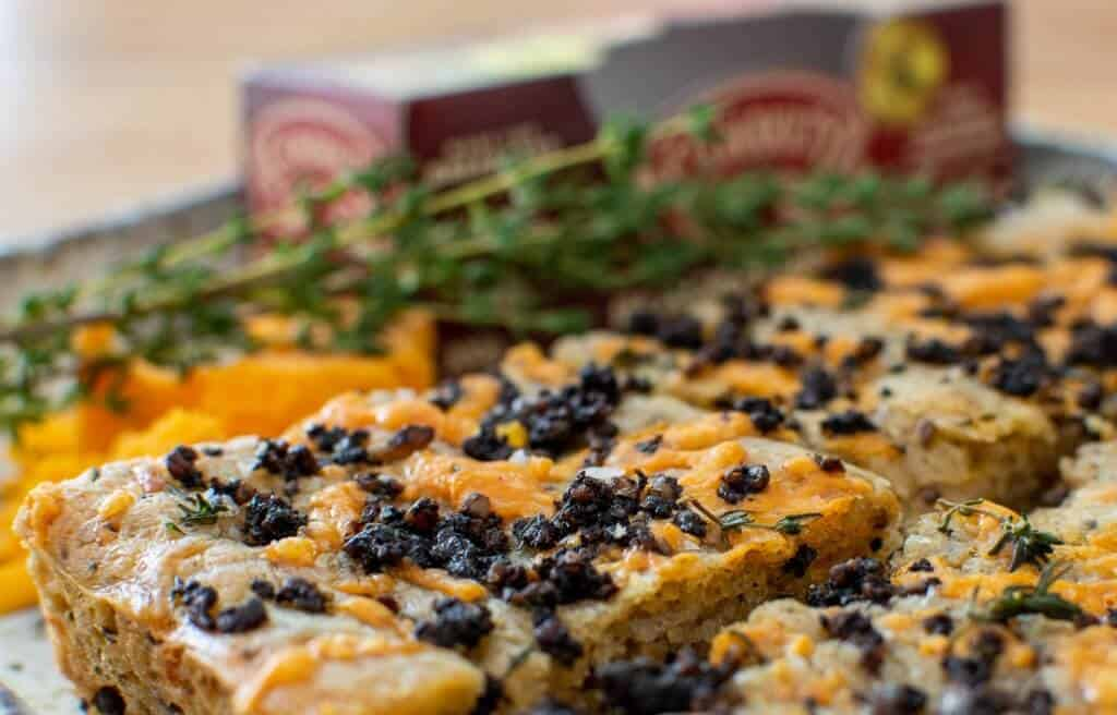 Black Pudding Focaccia, thyme & clonakilty pudding box