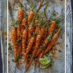 roasted miso maple carrots on a white serving plate