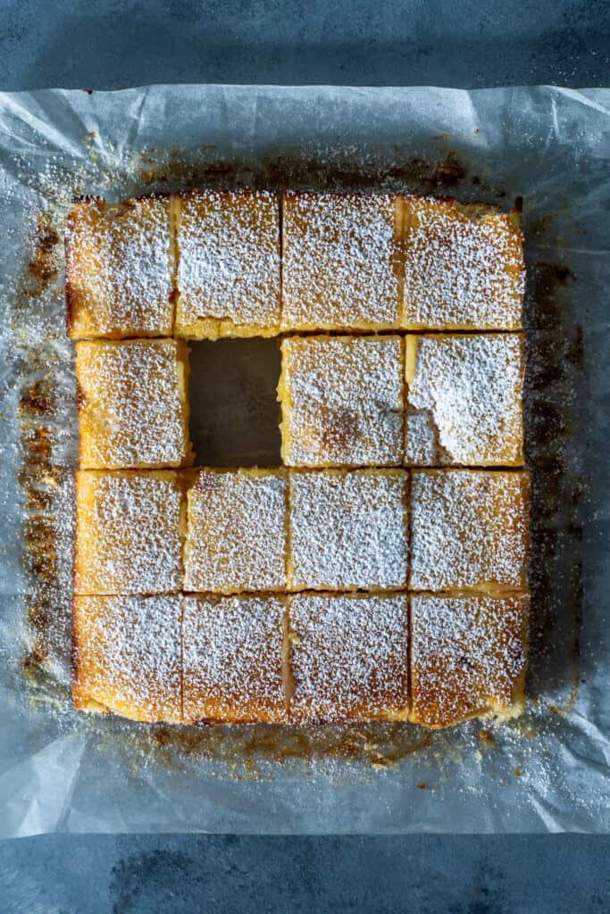 Cut lemon squares