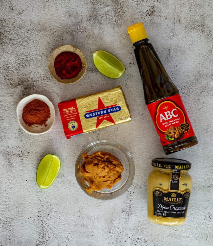 ingredients for making miso steak sauce