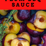 plums and thyme in a saucepan