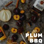 plums, bourbon, onion & spices on a vinyl mat
