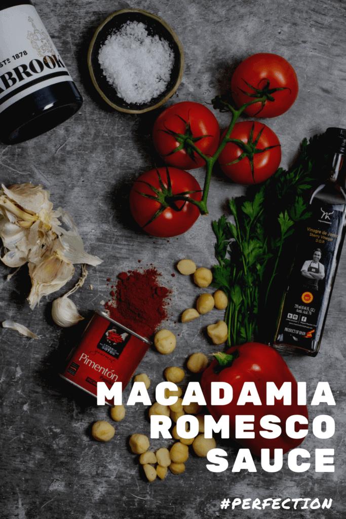 Ingredients for macadamia romesco sauce