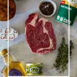pepper sauce ingredients and a steak on a board