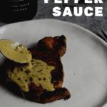 peppercorn sauce being spooned over steak & manser red wine