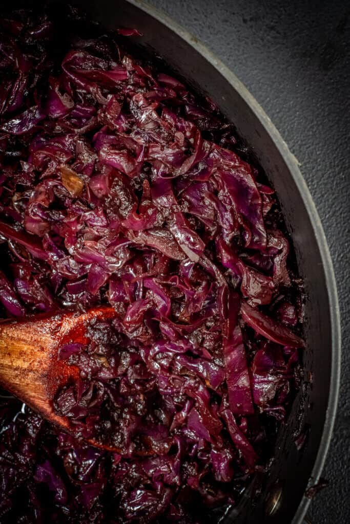 bowl of braised red cabbage
