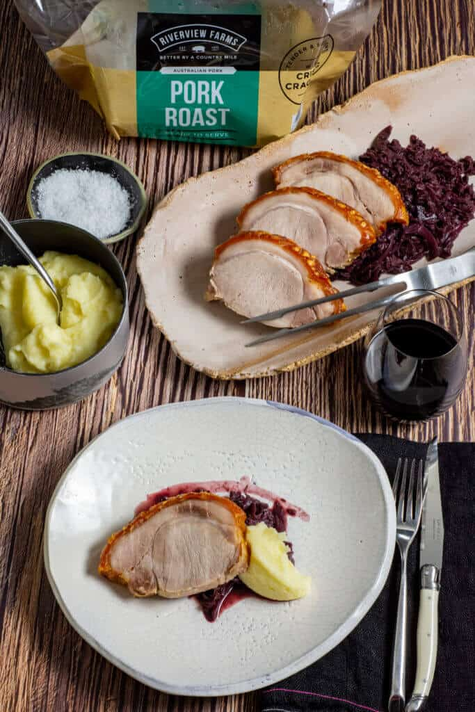riverview farms pork, red cabbage, mashed potatoes & glass of wine