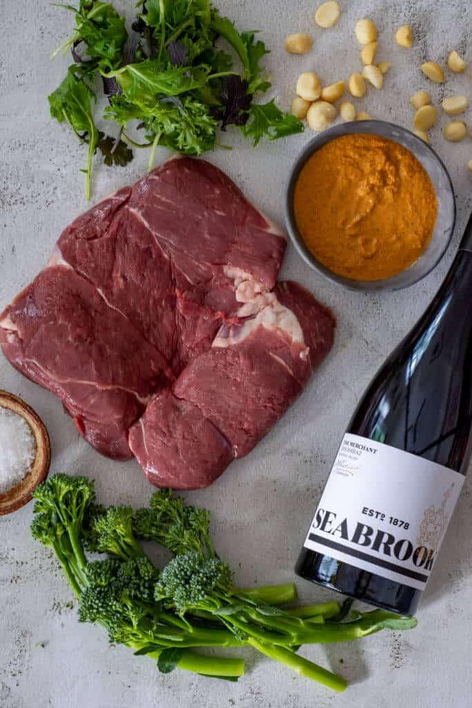 Butterflied lamb, romesco sauce, broccolini & seabrook wines shiraz