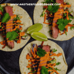 3 steak tacos on a plate