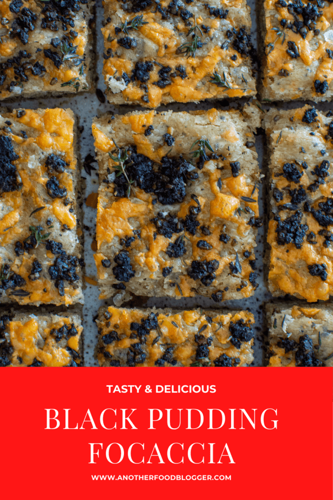 Slices of black pudding and cheddar cheese focaccia