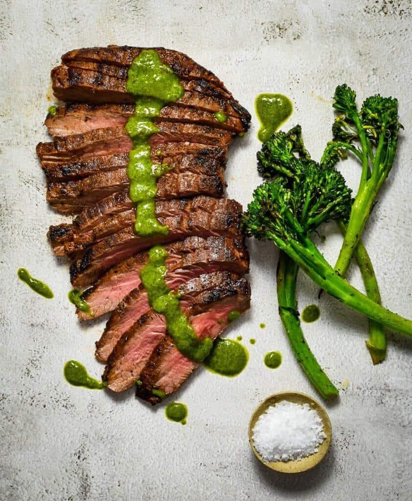 skirt steak, chimichurri & broccolini