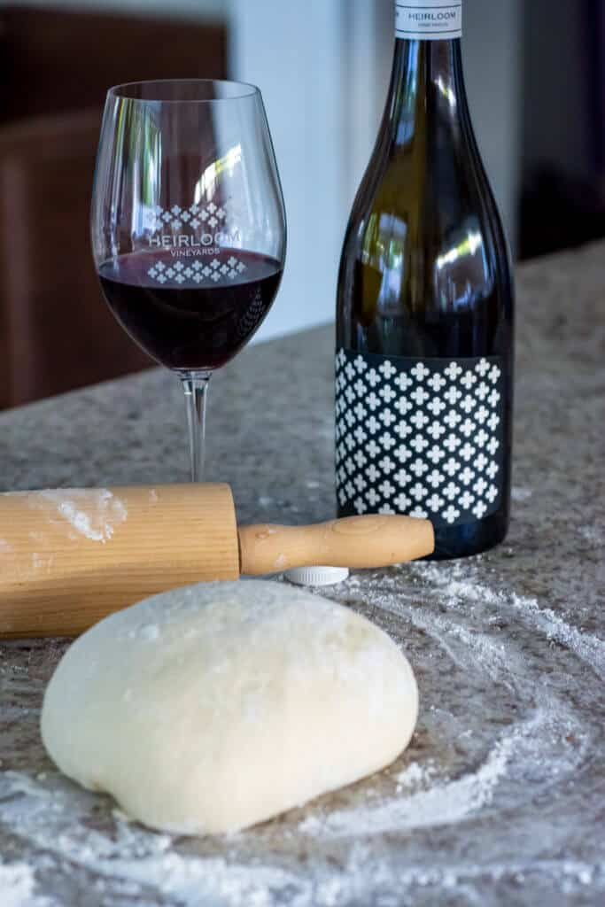heirloom red wine, pita dough and rolling pin