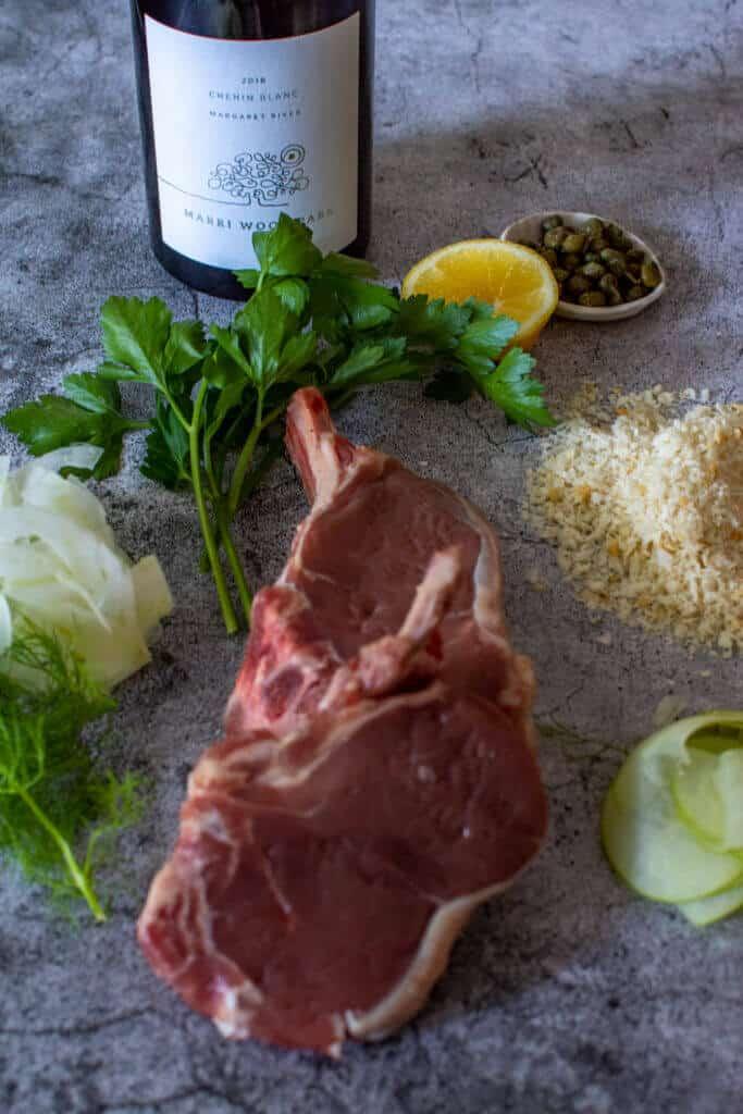 raw veal cutlet, parsley, lemon, capers & marri wood chenin blanc