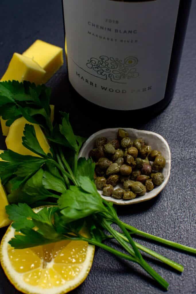 Marri Wood Park chenin blanc, butter, parsley & capers