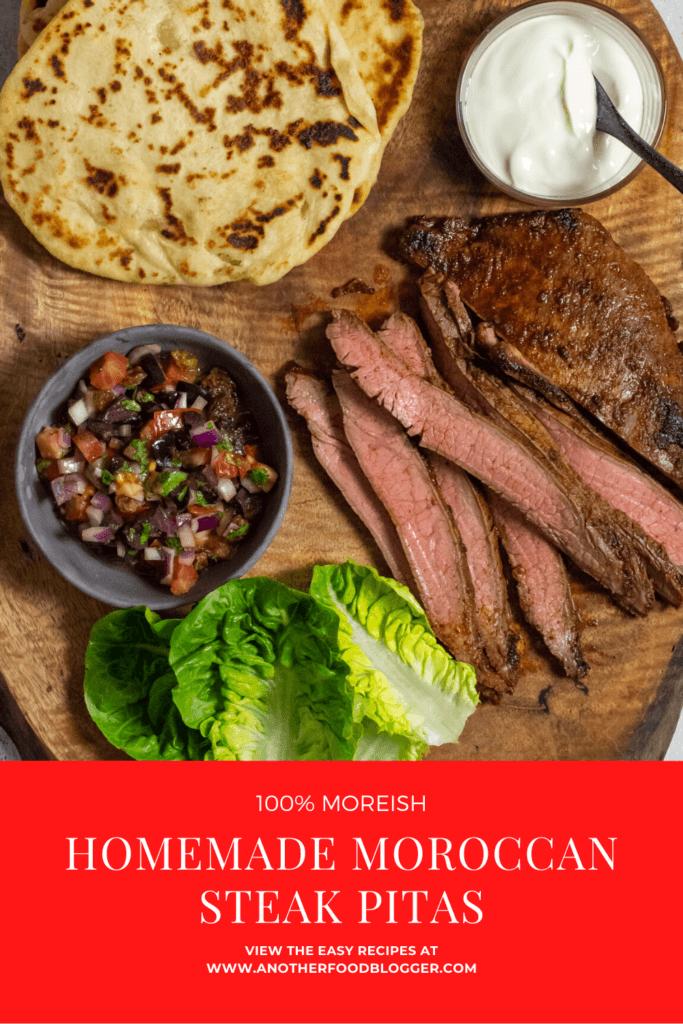 homemade pita bread, skirt steak, lettuce & salsa on wooden board