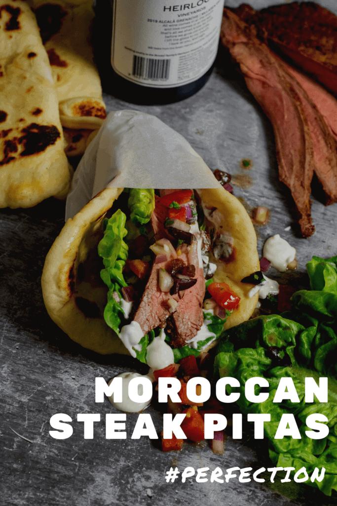 Moroccan steak pita with salsa, steak & red wine in background