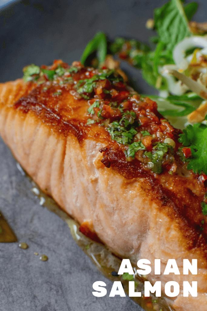 perfectly seared salmon with nam prik dressing
