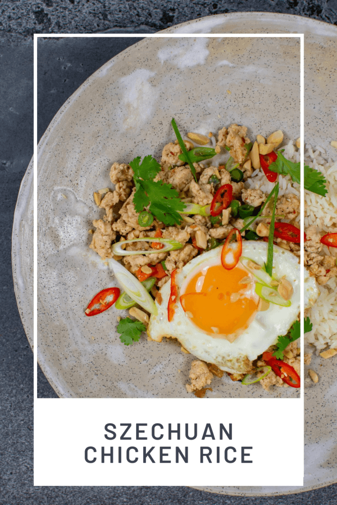 Szechuan fried chicken, rice and fried egg in a bowl