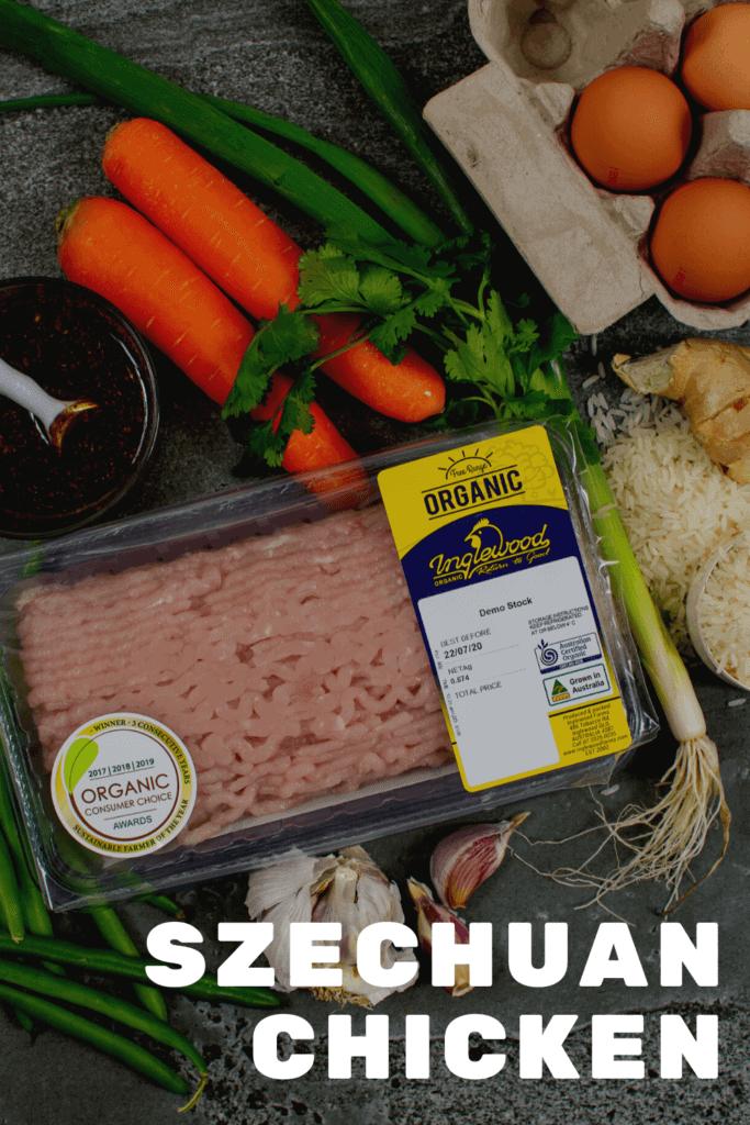Inglewood organic chicken, vegetables & rice on kitchen counter
