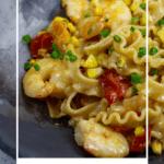 bowl of brown butter prawn pasta