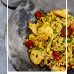 bowl of brown butter prawn pasta & chalk hill fiano wine