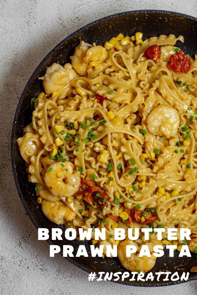 brown butter prawn pasta in frying pan