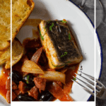 spanish fish stew, grilled bread and glass of heirloom wine