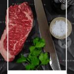 striploin steak, global chef knife & heirloom shiraz