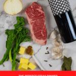 steak & onion soubise ingredients on kitchen counter