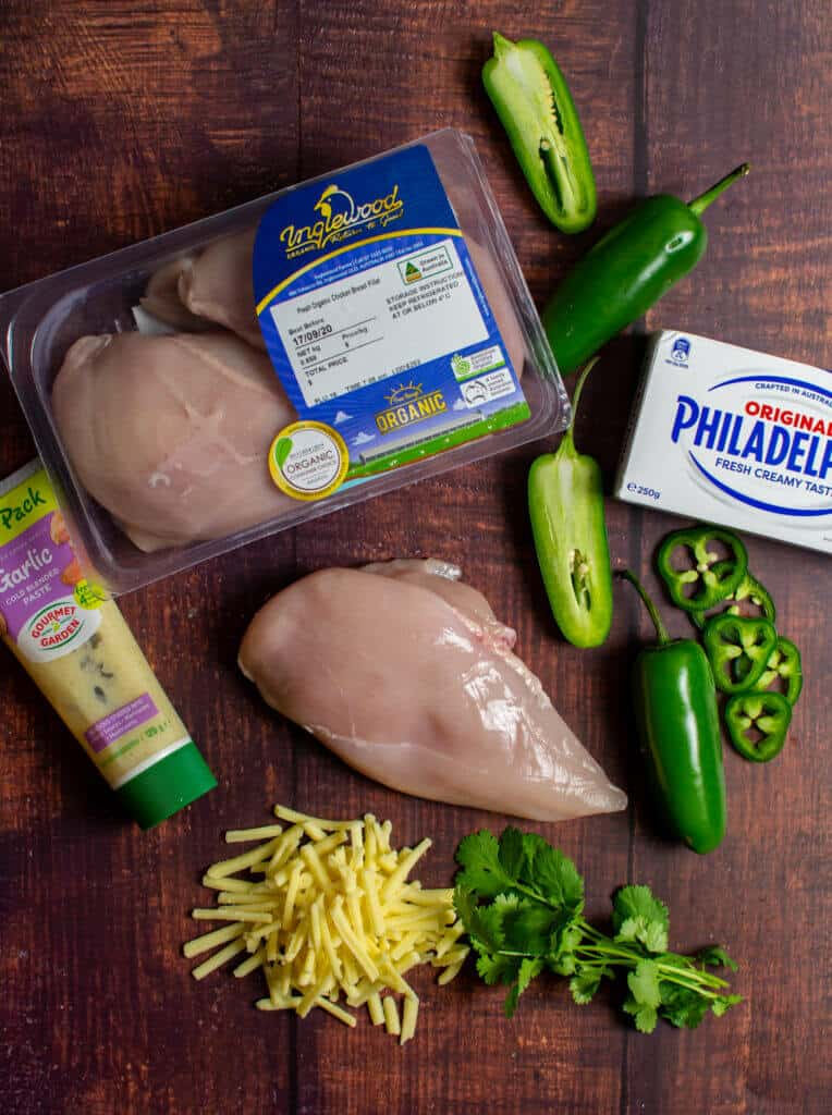 inglewood organic chicken breasts & jalapeno popper ingredients on a table