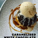 sticky toffee pudding, caramel sauce and caramelised white chocolate ice-cream