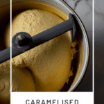 Caramelised White Chocolate Ice-Cream on kitchen counter top