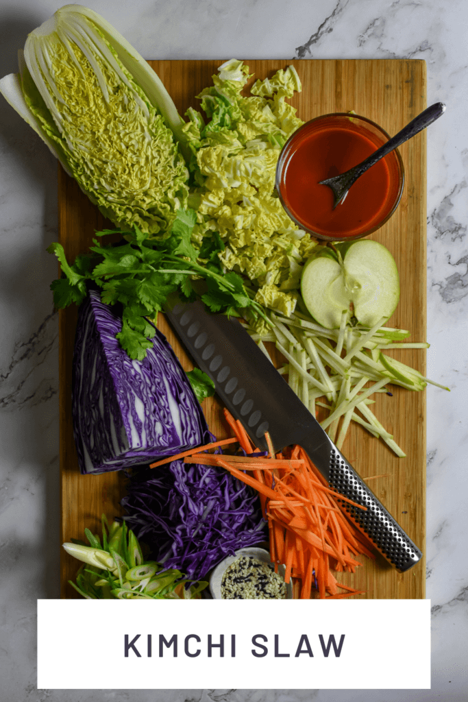 slaw ingredients, global chef knife on chopping board