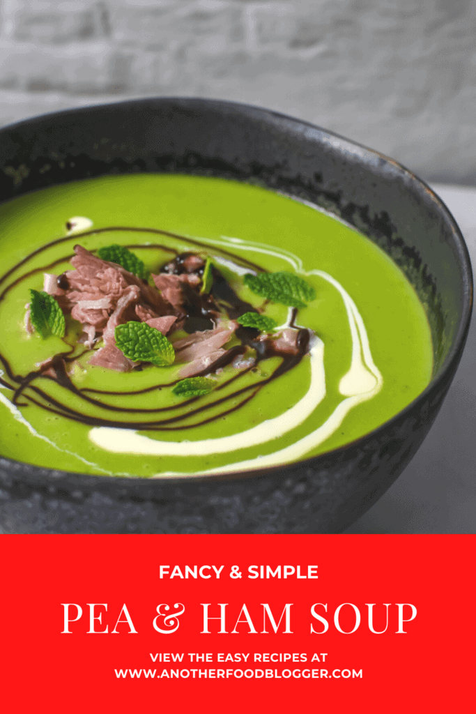 A bowl of pea & ham soup on kitchen countertop