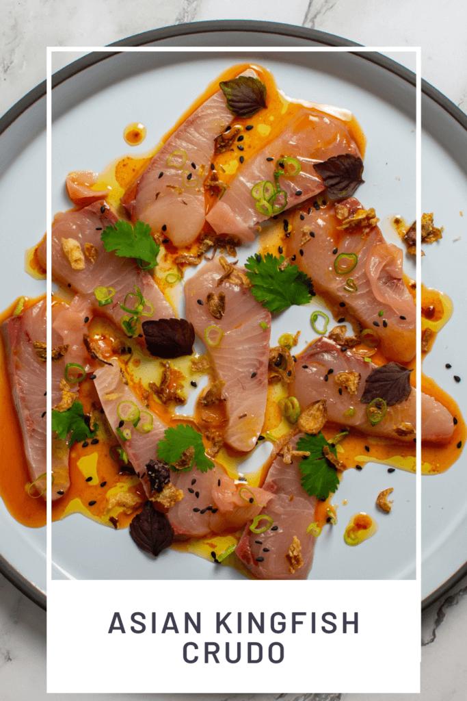 beautiful kingfish crudo on a CB2 plate